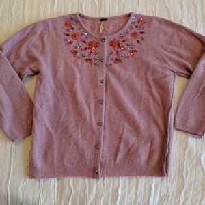 Free People Purple Jeweled Sweater Size Small